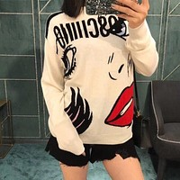 Moschino Fashion Angel Tears loose long knit Hoodie lady