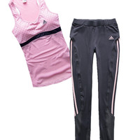 Adidas Woman Gym Sport Yoga Embroidery Print Vest Tank Top Cami Pants Trousers Set Two-Piece Sportswear
