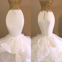 Mermaid Spaghetti Strap White Applique Organza Prom Dresses