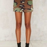 After Party Vintage In the Trenches Camo Mini Skirt