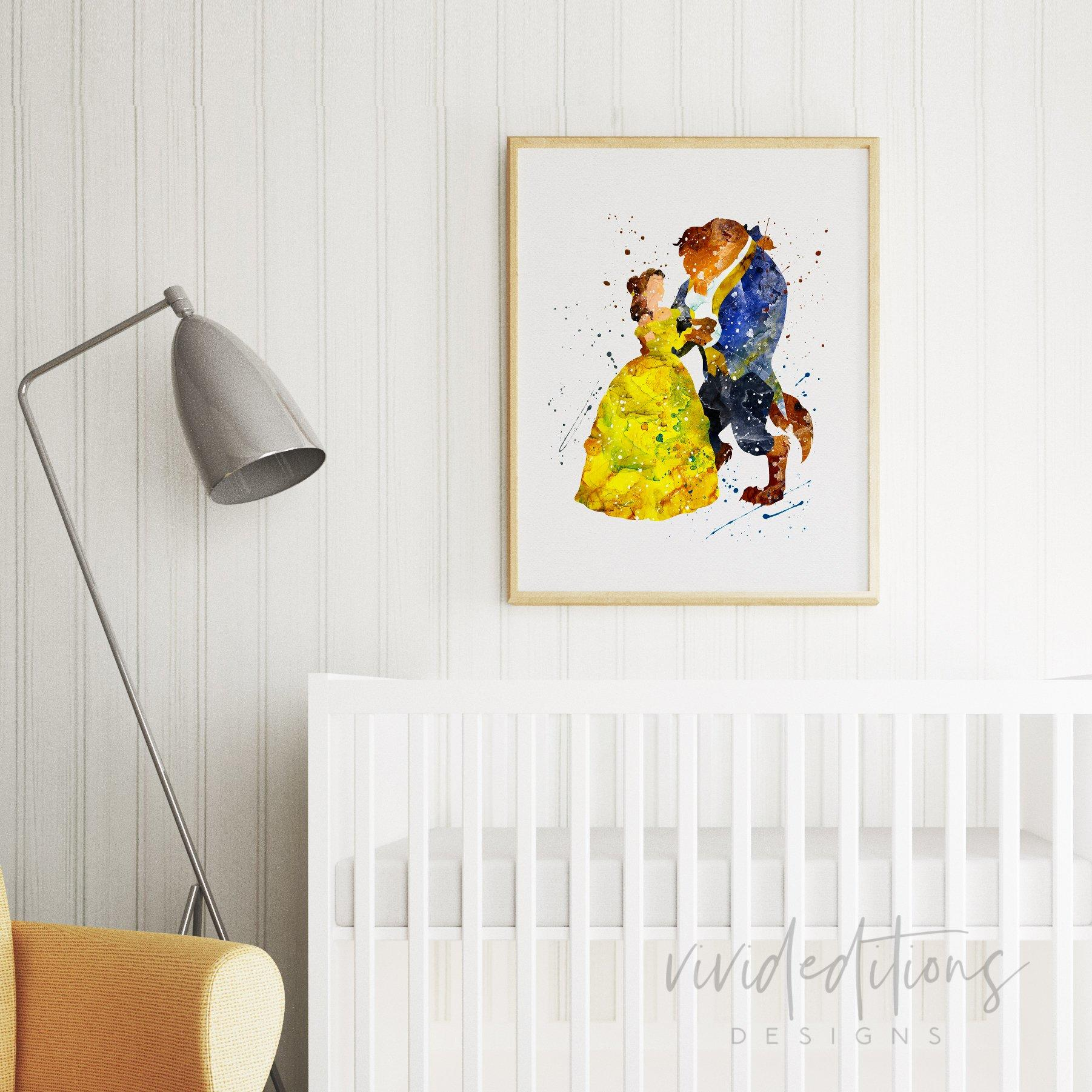 Image of Beauty and the Beast 3 Watercolor Art Print