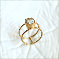 Double Wheel Gold Ring With Aquamarine Stone by illuminancejewelry