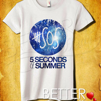 5 Seconds Of Summer Logo Galaxy Women T-Shirt - 5 Seconds Of Summer T-Shirt - 5 SOS - Music Design For Women T-Shirt (All Color Available)