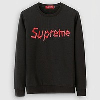 Supreme Round-neck Pullover Long Sleeve Sports Tops Hoodies