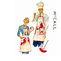1940s Aprons Pattern McCall 1515 Mr Mrs Bar B Que Pig Transfer Pot Holder Hat Transfers Included One Size