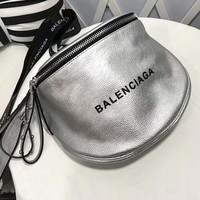 Balenciaga Fashion Women Shopping Bag Leather Shoulder Bag Crossbody Satchel Silvery I-AGG-CZDL