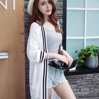 None Button Sleeve Knitted Long Cardigan With Pocket