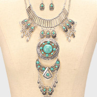 Antique Silver Boho Turquoise Tribal Bib Necklace & Earrings