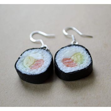 Maki Roll Salmon Sushi Dangle Earrings