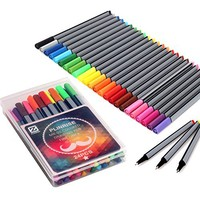 Pinkrise Mnm-01 Colored Drawing Pen Fine Liner 0.4mm Sketch Drawing Marker Pen, Pack of 24 Assorted Colors