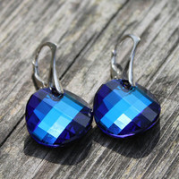 Classic Blue Silver Earrings, Bermuda Blue Swarovski Crystal, Dangle Earrings for Women, perfect gift idea