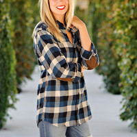 Shelby Boyfriend Plaid Flannel with Elbow Patches : Blue/Tan