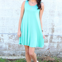 Basic Trapeze Tank Swing Dress {Mint}