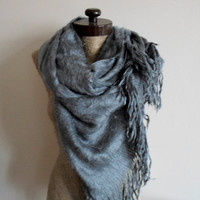 Furry scarf, EXPRESS UPGRADE options, Black, gray, ivory long wrap scarf, Wooly Fabric, blanket scarves, Winter outfit, For Men, For Her