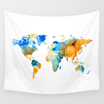 World Map Art - Map Of The World 14 - By Sharon Cummings Wall Tapestry by Sharon Cummings