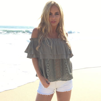 Somebody To Lean On Blouse In Olive