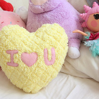 Conversation Heart - I HEART YOU Fluffy Valentines Pillow