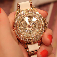 2017 NEW women fashion watch luxury Rose gold crystal diamond bracelet watches Ceramic Strap dress watch women rhinestone watch