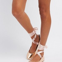 Satin Lace-Up Ballet Flats | Charlotte Russe