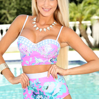 Fuchsia Green Floral Print Lace Up Sexy High Waist Swimsuit