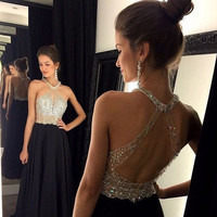 Sexy Backless Prom Dresses 2017 Newest Beading Halter Crystal Chiffon Long Evening Dress A line Special black prom gowns