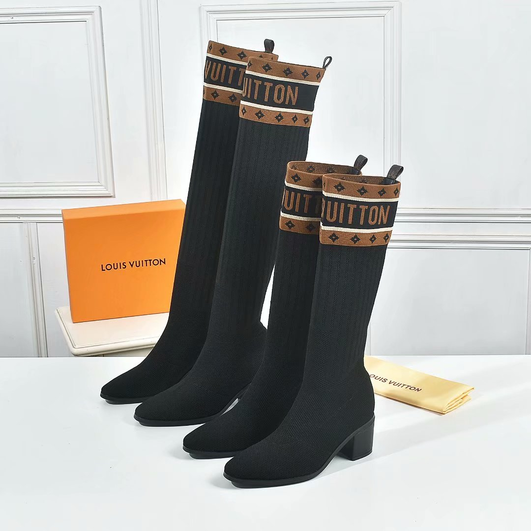 Image of lv louis vuitton trending womens leather side zip lace up ankle boots shoes high boots