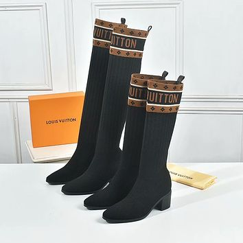 lv louis vuitton trending womens leather side zip lace up ankle boots shoes high boots