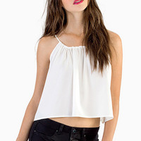 White Strappy Cut Out Back Chiffon Crop Top