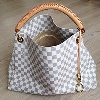 LV Fashion Ladies'Printed Bag Hot Selling Single Shoulder Bag Shopping Bag White lattice