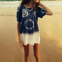 Loose Casual Round Neck Short-Sleeved Tie-Dyed Shirt Blouse Tops