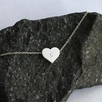 personalized silver heart initial necklace, stamping initial, dainty necklace, bridesmaid gifts, birthday, wedding jewelry, gift for mom