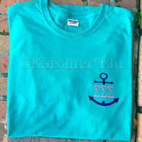 Monogrammed Anchor Tee with initials or greek letters