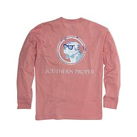 Palm Lab Logo Long Sleeve Tee Shirt in Flamingo by Southern Proper
