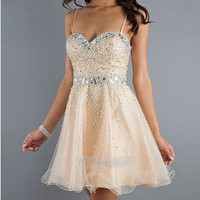 Champagne Homecoming Dress/Prom Dress With Straps Corset Lace Up back