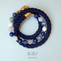 Blue rope and gemstones wrap bracelet for women Women's wrap bracelet navy Women rope bracelet