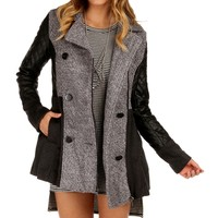 Sale-charcoal Faux Leather Wool Blend Coat