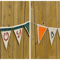 Reversible Holiday Burlap Banner - Halloween/Fall and Winter/Christmas Burlap Banner, reversible bunting