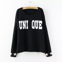 Letter Pattern Pullover Knitted Sweater