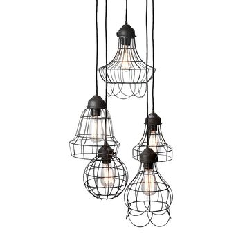 Wire 5-Light Mini Pendant with Wire Cages in Five Shapes