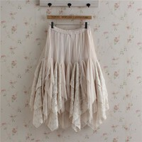2016 Summer Japanese Fashion Forest Girl Style Bottoming Skirt Lace Cake Lolita Skirt Mori Girl Dolly Mesh Layered Skirts U143