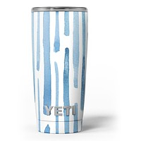 Blue Abstract WaterColor Strokes - Skin Decal Vinyl Wrap Kit compatible with the Yeti Rambler Cooler Tumbler Cups
