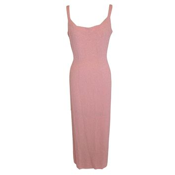 Bergdorf Goodman Deep Pink Silk Crepe with Micro Seed Form-Fitting Gown