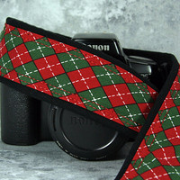 Argyle Christmas Camera Strap, dSLR, Plaid, Red, Green, 206 w