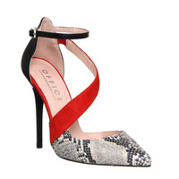 Office Phoenix Asymmetric Strap Point Court Red Snake Multi Leather - High Heels