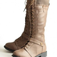 on the road lace-up boots at ShopRuche.com