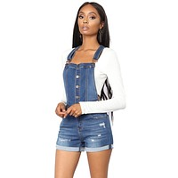 Blue Roll-up Cuffs Button Down Denim Short Overall