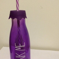 Drink Me Purple Milk Jug Cup with Straw and Rubber Top