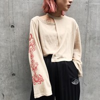 Women Personality Hollow Irregular Totem Print Loose Long Sleeve Sweater Crop Tops