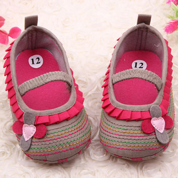 Free ShippingCotton Cloth Four-Flower Baby Shoes Striped Sole Shoes for Kids Cute Toddler ShoesDrop Shipping