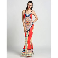 Sexy Fashion Women Strap Backless Bodycon Geometric Print Maxi Long Slit Full Dress